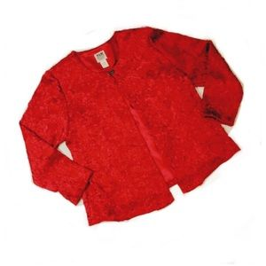 red twin set- tank and textured jacket